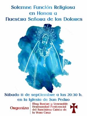 La Vera Cruz celebra este sábado, 11 de septiembre, su solemne Función a la Virgen de los Dolores