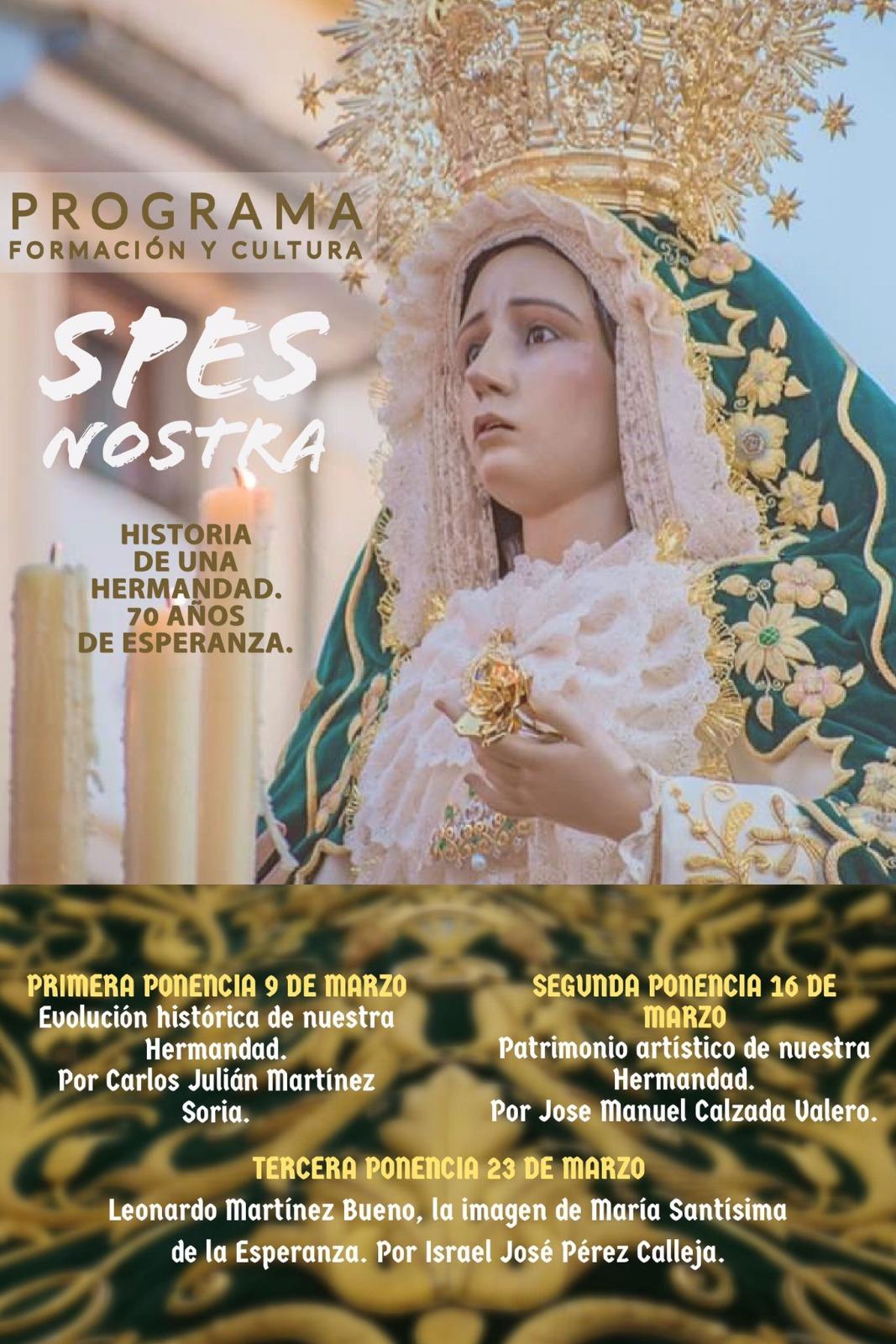 """La V. H. de María Stma. de la Esperanza pone en marcha el programa online de formación y cultura """"Spes Nostra"""""""