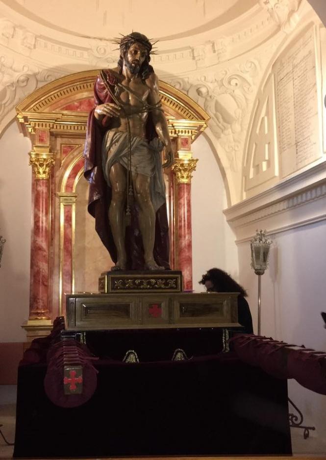 Todo preparado para el solemne traslado del Santísimo Ecce-Homo a San Miguel para el Pregón