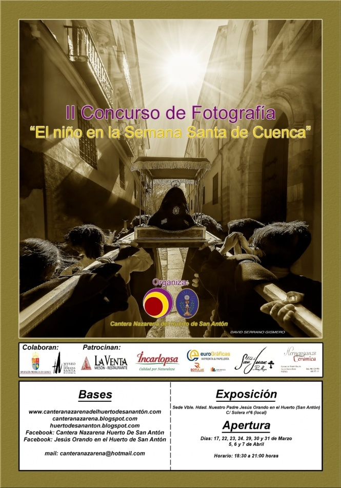 """La Cantera Nazarena convoca la II edición del Premio de Fotografía """"El niño en la Semana Santa de Cuenca"""""""