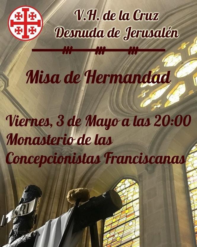 Archicofradía, Vera Cruz y Cruz Desnuda y Congregación celebran Cultos este fin de semana
