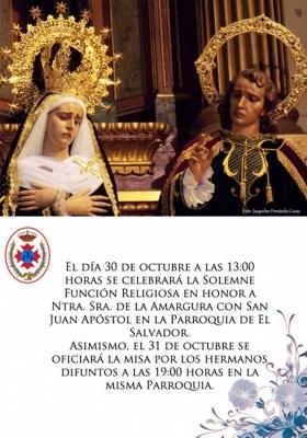 La R.I.V. H. de la Amargura con San Juan celebra sus cultos los días 30 y 31 de octubre