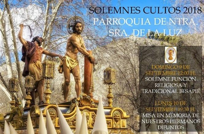 El domingo 9 de septiembre, Función y Besapié a la imagen de Nuestro Padre Jesús Amarrado a la Columna