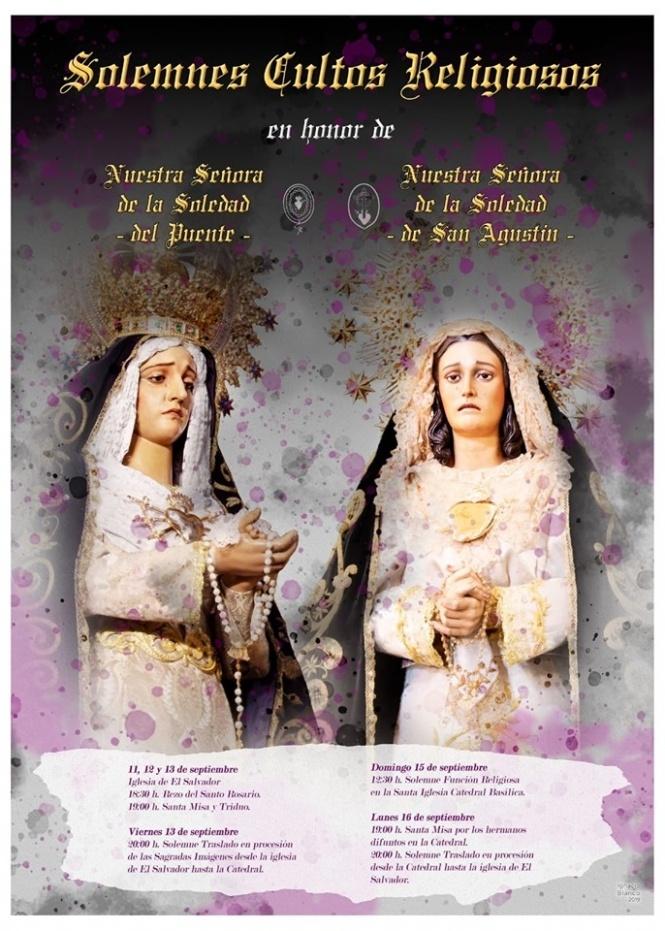 Las Soledades del Puente y de San Agustín vuelven a unir sus pasos y celebran Cultos conjuntos del 11 al 16 de septiembre