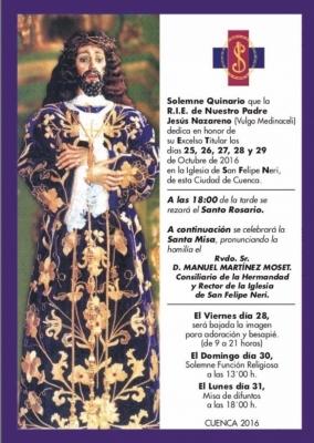 La R.I.E. de Nuestro Padre Jesús Nazareno (vulgo Medinaceli) celebra esta semana Quinario, besapié y Función a su Titular