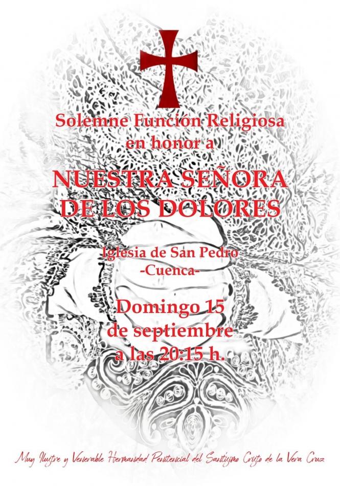 La Vera Cruz celebra este domingo, 15 de septiembre, su solemne Función a la Virgen de los Dolores