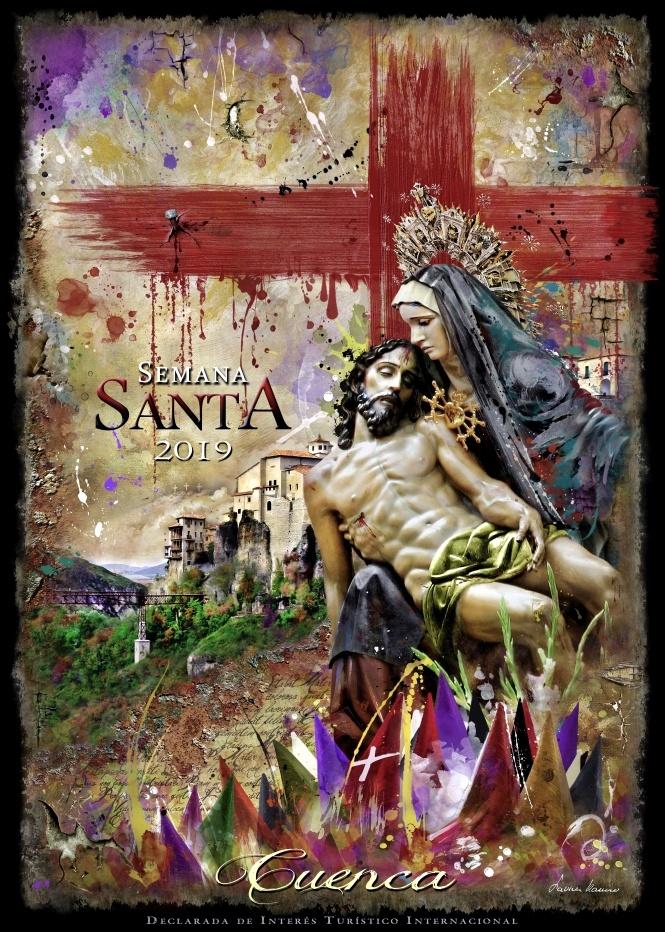 El misterio piadoso de la Virgen de las Angustias centra un Cartel que sintetiza la esencia de la Pasión de Nuestro Señor
