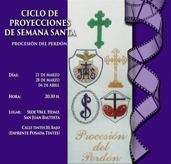 En marcha una nueva edición del Ciclo de Proyecciones de Semana Santa organizado por las hermandades del Perdón