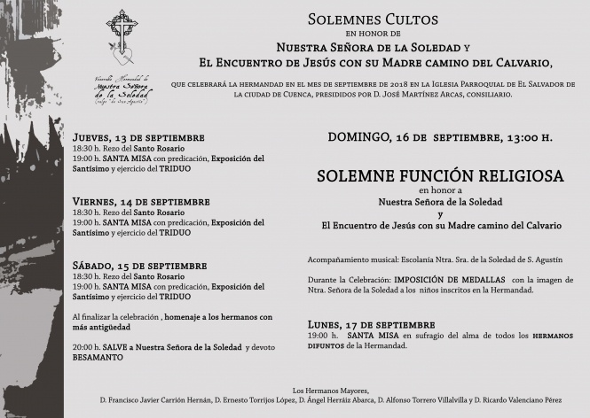 Este jueves dan comienzo los solemnes Cultos de la V. H. de Ntra. Sra. de la Soledad (vulgo de San Agustín)