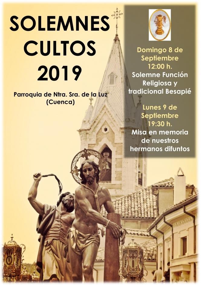 Los días 8 y 9 de septiembre se celebrarán los Cultos en honor a Ntro. Padre Jesús Amarrado a la Columna